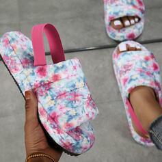 Women's Suede Flat Heel Sandals Platform Peep Toe Slingbacks Slippers With Elastic Band Floral Print shoes
