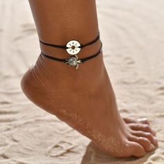 Eenvoudig Legering Gevlochten Touw met Schildpad Munt Strand sieraden Enkelbanden (Set van 2)