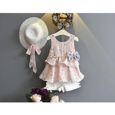 3-pieces Toddler Girl Bowknot Floral Print Chiffon Set