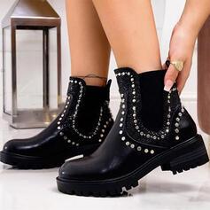 Vrouwen PU Chunky Heel Enkel Laarzen Rijlaarzen Ronde neus met Klinknagel Effen kleur schoenen