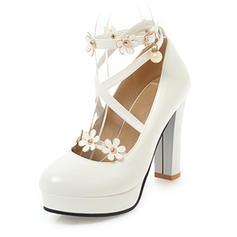 Vrouwen Kunstleer Stiletto Heel Pumps Plateau Closed Toe Over De Knie Laarzen met Strass Klinknagel Bloem schoenen