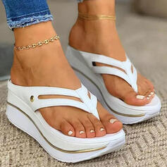 Women's PU Wedge Heel Sandals Platform Flip-Flops Slippers With Hollow-out Solid Color shoes