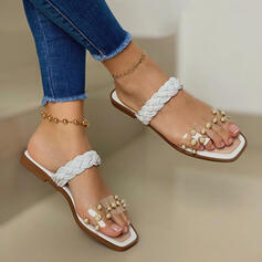 Women's PU Flat Heel Sandals Flats Peep Toe Slippers With Hollow-out Braided Strap shoes