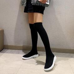 Vrouwen Sprankelende Glitter Flat Heel Over De Knie Laarzen Ronde neus Sok laarzen met Effen kleur schoenen