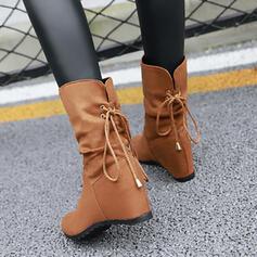 Vrouwen Kunstleer Flat Heel Half-Kuit Laarzen Ronde neus met Rits Effen kleur schoenen
