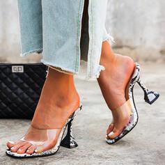 Women's PU Kitten Heel Sandals Pumps Peep Toe With Animal Print Transparent shoes