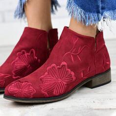 Vrouwen Suede Flat Heel Ronde neus met Bloemen schoenen