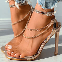 Women's PU Stiletto Heel Pumps Peep Toe With Buckle Hollow-out shoes