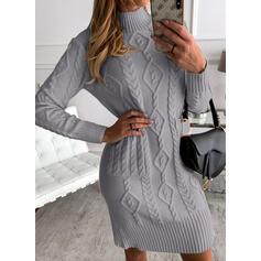 Solide Kabel-gebreid Opstaande Kraag Casual Lang Sweaterjurk