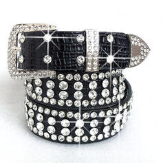 Elegant Artistic Dainty Square & Round Buckle Leather With Rhinestones Breathable Rhinestone Décor Women's Belts