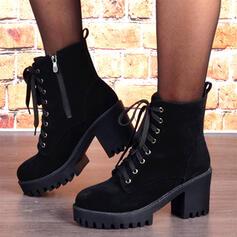 Vrouwen Suede Chunky Heel Martin Boots Ronde neus met Rits Vastrijgen schoenen