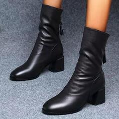 Vrouwen PU Chunky Heel Half-Kuit Laarzen Rijlaarzen Ronde neus met Ruched Rits schoenen