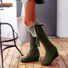 Vrouwen Kunstleer Wedge Heel Half-Kuit Laarzen Ronde neus met Effen kleur schoenen