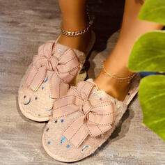 Women's PU Flat Heel Closed Toe Slippers Round Toe With Bowknot shoes