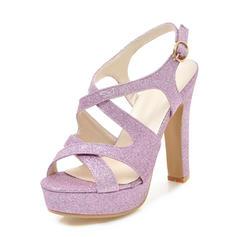Vrouwen Sprankelende Glitter Chunky Heel Sandalen Pumps Plateau Peep Toe Slingbacks met Gesp schoenen