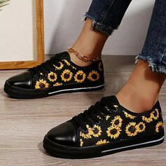 Women's PU Flat Heel Flats Low Top Round Toe Espadrille With Lace-up Flower shoes