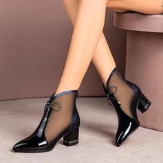 Vrouwen Kunstleer Chunky Heel Closed Toe Enkel Laarzen Puntige teen met Vastrijgen Hol-out schoenen