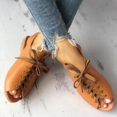 Women's PU Low Heel Sandals Peep Toe With Lace-up shoes