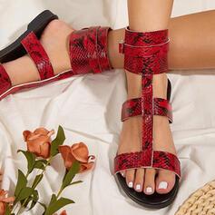 Women's PU Low Heel Sandals Flats Peep Toe Round Toe With Animal Print shoes