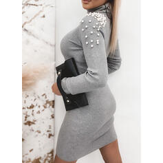 Solid Beaded Turtleneck Casual Long Sweater Dress