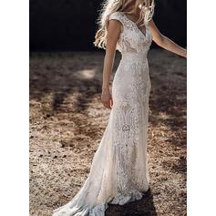 Lace/Solid Cap Sleeve Sheath Party/Elegant Maxi Dresses