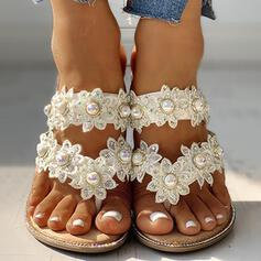 Women's PU Flat Heel Slippers With Imitation Pearl Flower shoes