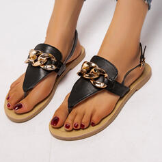 Women's PU Flat Heel Sandals Flats Flip-Flops Round Toe With Buckle Chain shoes