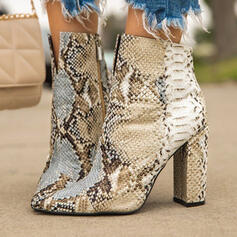 Women's PU Stiletto Heel Sandals Pumps Peep Toe Square Toe With Animal Print shoes