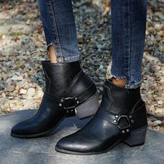 Vrouwen PU Chunky Heel Martin Boots Ronde neus met Klinknagel Gesp schoenen