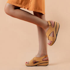 Women's PU Wedge Heel Sandals Peep Toe With Buckle Solid Color shoes