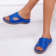 Vrouwen Kunstleer Wedge Heel Sandalen Flats Flip Flops met Gesp Hol-out schoenen