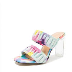 Women's Cloth Others Sandals Peep Toe Slippers Heels Round Toe With Crystal Ruched Splice Color shoes