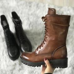 Vrouwen PU Chunky Heel Half-Kuit Laarzen Martin Boots Puntige teen met Rits Vastrijgen schoenen