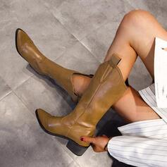 Vrouwen PU Chunky Heel Half-Kuit Laarzen Puntige teen met Effen kleur Geborduurd schoenen
