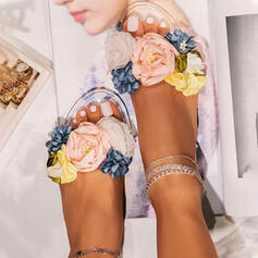 Women's PVC Flat Heel Sandals Peep Toe Slippers With Hollow-out Flower shoes