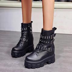 Vrouwen PU Flat Heel Enkel Laarzen Martin Boots Ronde neus met Gesp Rits Vastrijgen schoenen