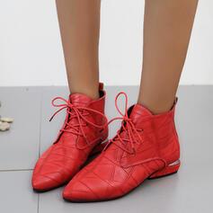 Vrouwen PU Chunky Heel Martin Boots Puntige teen met Vastrijgen schoenen