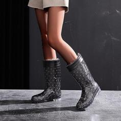 PVC Wedge Heel Half-Kuit Laarzen Snowboots Regenlaarzen Ronde neus Aantrekken met Stip schoenen
