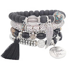 Beautiful Alloy Silver Plated Acrylic Wooden Beads Ladies' Fashion Bracelets