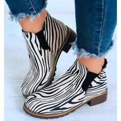 Vrouwen Suede Low Heel Laarzen Enkel Laarzen Ronde neus met Dier Afdrukken schoenen