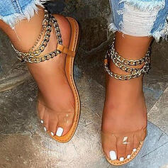 Women's PU Flat Heel Sandals Wedges Peep Toe Heels Round Toe With Chain Solid Color shoes