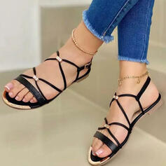 Women's PU Flat Heel Sandals Flats Peep Toe Round Toe With Buckle Solid Color Crisscross shoes