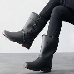 PVC Low Heel Half-Kuit Laarzen Snowboots Regenlaarzen Ronde neus Aantrekken met Effen kleur schoenen