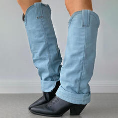 Vrouwen PU Chunky Heel Knie Lengte Laarzen Rijlaarzen Puntige teen met Las kleur Geborduurd schoenen