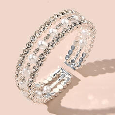 Shining Attractive Delicate Alloy Rhinestones Imitation Pearls With Rhinestones Imitation Pearls Bracelets