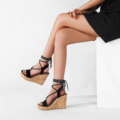 Women's Cloth Wedge Heel Sandals Wedges Peep Toe Heels With Lace-up Wood shoes