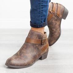 Vrouwen PU Chunky Heel Enkel Laarzen Ronde neus met Gesp Rits schoenen