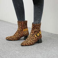 Vrouwen Suede Chunky Heel Half-Kuit Laarzen Puntige teen met Gesp Rits schoenen
