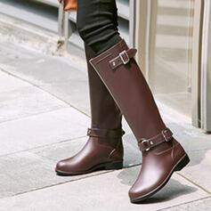PVC Flat Heel Knie Lengte Laarzen Regenlaarzen Ronde neus met Gesp schoenen