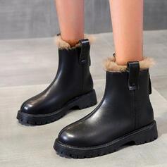 Vrouwen PU Low Heel Enkel Laarzen Ronde neus met Rits Effen kleur schoenen